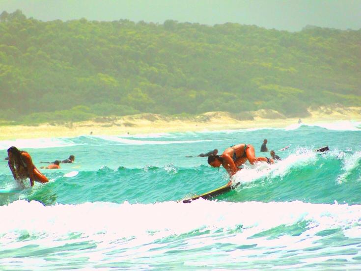 girls surfers sobre las tablas